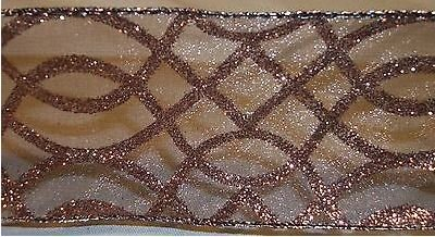 50 Yard X 2.5 Inch Wired Edge Designer Ribbon - Chocolate Brown Sparkle