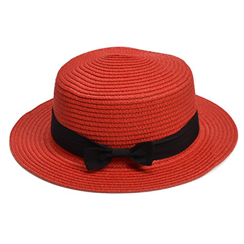 - Lawliet Womens Straw Boater Hat Fedora Panama Flat Top Ribbon Summer A456 (Red)