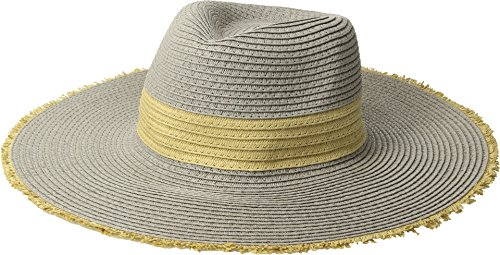 San Diego Hat Company Women's PBF7310O Fedora w/Natural Inset and Frayed Edge Grey One Size (Diego Fedora San)