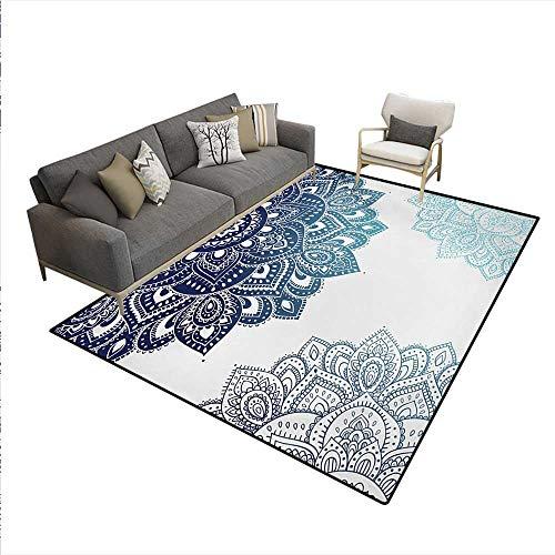 (Rug,South Asian Mandala Design Vibrant Color Ornamental Ethnic Illustration,Floor Mat Kids,Dark Blue Pale Blue,6'x9')