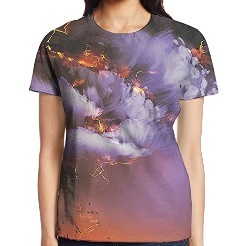 WuLion Explosion with Dramatic Clouds and Lightning Storm with Man Women's 3D Print T Shirt M White