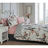 6 Piece Girls Paris Love Themed Comforter Set Twin Size, All Over Medallion Eiffel Tower Reversible Bedding, Multi Flowers France Inspire, Damask Patchwork Background Pattern Vibrant Colors Coral Pink