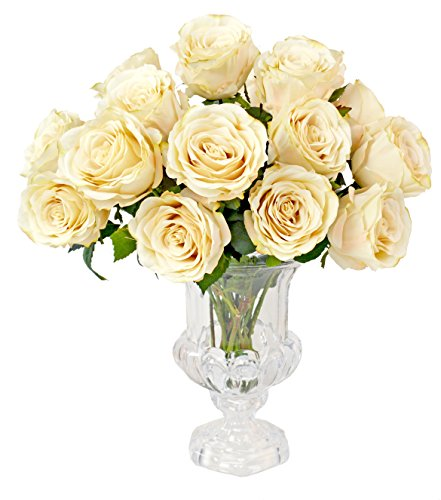 Natural-Looking Cream Rose Bouquet in Cut Glass Urn with Acrylic Water - Rose Design Urn