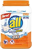 all Mighty Pacs Laundry Detergent with OXI Stain Removers and Whiteners, Free Clear, Pouch, 56 Count