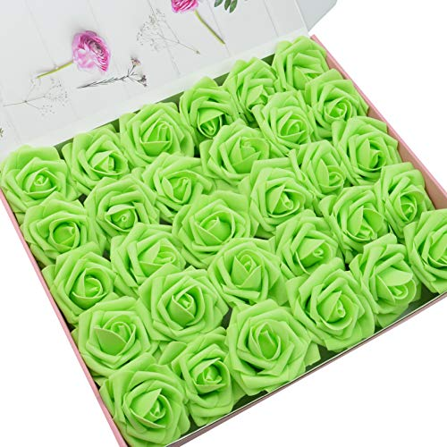 DerBlue 60pcs Artificial Roses Flowers Real Looking Fake Roses Artificial Foam Roses Decoration DIY for Wedding Bouquets Centerpieces,Arrangements Party Baby Shower Home Decorations ()