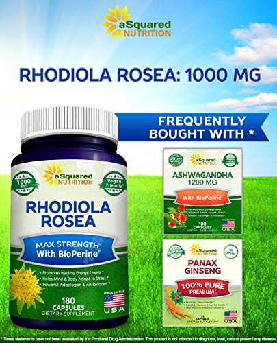 Rhodiola Rosea with BioPerine Supplement - 180 Capsules - Max Absorption Pure Rhodiola Root Powder Extract Pills - Golden Root Herb for Stress Relief, Mood, Focus & Energy - 500mg Rhodiola Per Cap