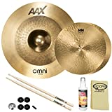 "SABIAN HH Remastered Cymbal Variety Package: 13"" HH Fusion Hi-Hats (11350) & 18"" AAX Omni (2180MX) with Accessories"