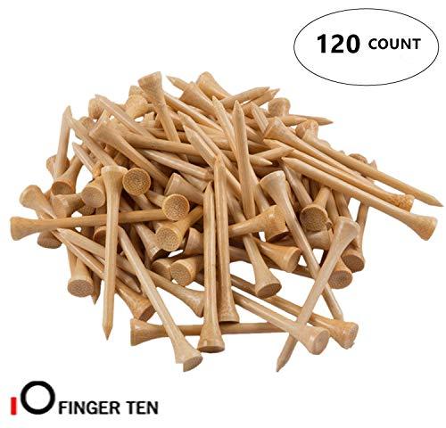 (FINGER TEN Golf Tee Wood 2 3/4 inch 3 1/4 inch Bulk 120 Count, Unbreakable Wooden 70 83 mm Color Blue Red White Wood for Men Women Kids (Wood, 2 3/4 Inch))