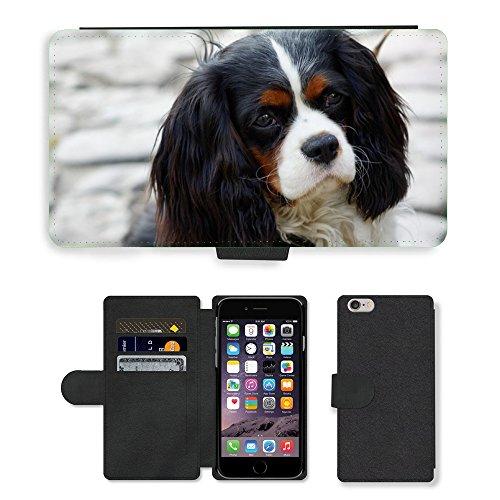 "Just Phone Cases PU Leather Flip Custodia Protettiva Case Cover per // M00128229 Chien Cavalier King Charles Spaniel // Apple iPhone 6 PLUS 5.5"""
