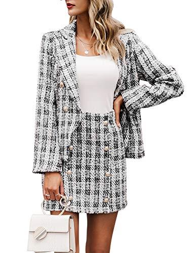 MsLure Women's Plaid Two Piece Set Long Sleeve Tweed Blazer Office Skirt Suit Plaid,M