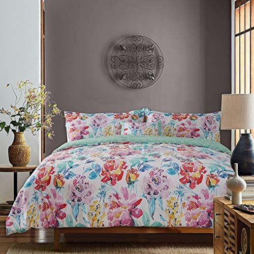 GS Home Fashions Studio8 Dream 4 Piece Comforter Set 100% Cotton, F/Q Size, Watercolor Floral Printed, 1 Comforter, 2 Shams and 1 Pillow