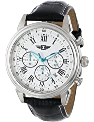 I By Invicta Mens 90242-002 Stainless Steel Watch with Black Leather Band
