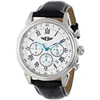 By Invicta Men's 90242-002 Stainless Steel Watch with Black Leather Band