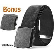 Men's Elastic Stretch Belt, JASGOOD Outdoor Plastic Belt with Removable Buckle Hiking Belt 38mm