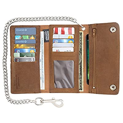 Men's Tri-fold Long Style Cowhide Top Grain Leather Steel Chain Wallet,Snap closure, Made In USA,