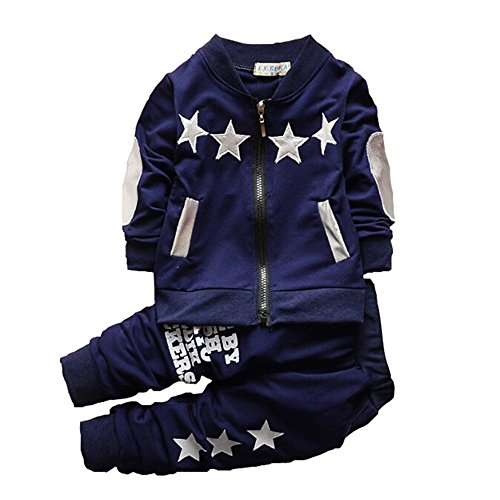 BibiCola Baby Boy Clothes Autumn Long Sleeve Clothing Set Toddler Boys Outfits (12 Months, dark blue) -