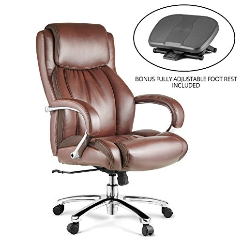 Halter HAL-007 Executive Bonded Leather Office Chair Bundle with Fully Adjustable Foot Rest, Home & Office Computer Desk Chair, Chrome Arms & Base - Supports 500LBS