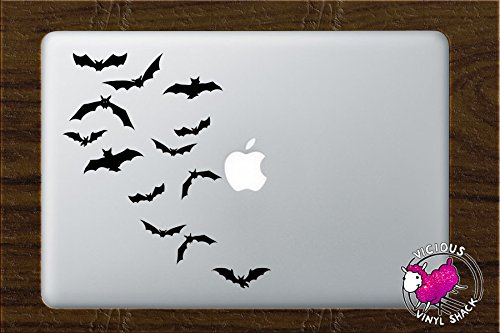 Bats Flying Away Halloween Decoration (BLACK) Vinyl MacBook Laptop Vinyl Decal Sticker Home Decor Stickers Car Jack O Lantern Pumpkin Costume Trick or Treat Haunted House Removable Witch Black Cat