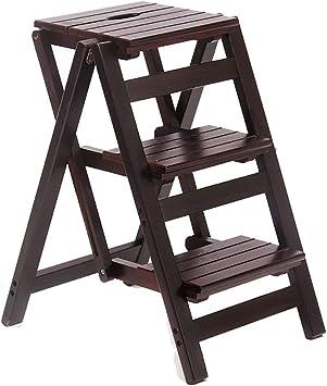 LJ Escaleras, Taburetes, Taburetes, Escalera Taburete de Madera Maciza de Varios Pasos, Taburete Plegable para el Hogar, Escalera de Escalada Portátil de Interior. Taburete de Almacenamiento Taburete: Amazon.es: Bricolaje y herramientas