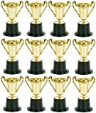 Play Kreative Kids Plastic Golden Award Trophy – Pack of 12 – 5 inch Gold Cup Trophies for Children - Party Favors Reward Prizes