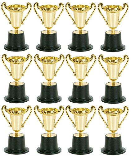 Play Kreative Pack of 12 Kids Plastic Golden Award Trophy - 5 Inch Gold Cup Trophies For Children - Party Favors Reward Prizes TM