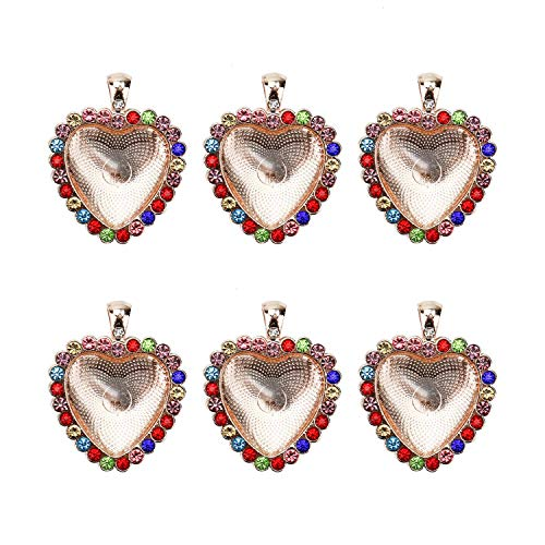 (Monrocco 10 Sets Rhinestone Heart Blank Bezel Pendant Trays Heart Pendant Rotation Trays Cabochon Setting for Jewelry Making (Rose Gold))