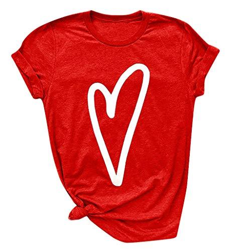 Blouses for Women Fashion 2019,YEZIJIN Colors Fashion Women Heart Print Short Sleeve Shirt Lady Summer Casual Tee Tops Red