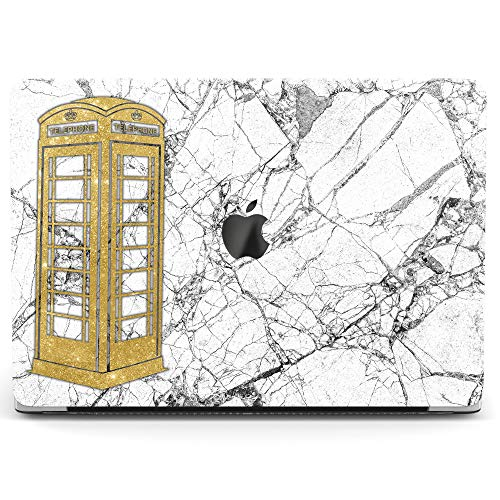 Wonder Wild Case For MacBook Air 13 inch Pro 15 2019 2018 Retina 12 11 Apple Hard Mac Protective Cover Touch Bar 2017 2016 2015 Plastic Laptop Print Telephone Booth Cute Film Marble Pink Cracked Stone]()
