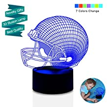 LED Night Light for Boys Men, 3D Illusion Lamp, Football Helmet 7 Colors Changing Room Bedroom Decor Lighting, Novelty Sports Fan Gift Ideas for Kids, Adults, Friends Festival Birthday Presents
