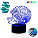 LED Night Light for Boys Men, 3D Illusion Lamp, Football Helmet 7 Colors Changing Room Bedroom Decor Lighting, Novelty Sports Fan Gift Ideas for Kids, Adults, Friends Festival Birthday Presents Reviews