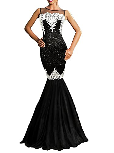 made2envy Sequin Applique Evening Mermaid Party Tulle Gown