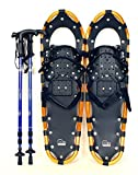 "New MTN 25"" Gold All Terrain Snowshoes+ Blue Nordic Pole + Free Carrying Bag"