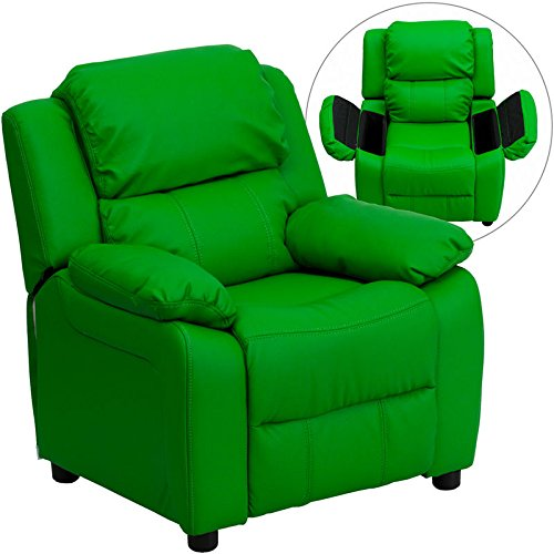 Eight24hours Deluxe Heavily Padded Contemporary Green Vinyl Kids Recliner, Storage Arms