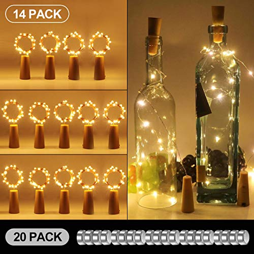 14 Pack luz de Botella, Kolpop luz Corcho, 20PCS Baterias Reemplazables de Vino 2m 20 LED a Pilas Decorativas Cobre Luz para Romantico Boda, Navidad, Fiesta, Hogar, Exterior, Jardin