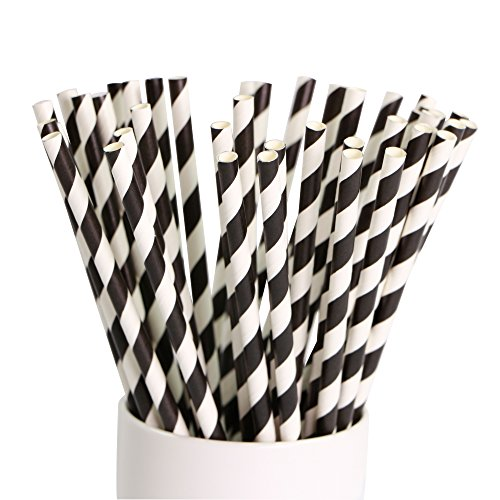 Webake Paper Straws Biodegradable Bulk 144 Black and White Striped Drinking Straws, Great Alternative Disposable Straws to Plastic Straws Eco Friendly Straw for Party, Cake Pop Sticks, Father's Day]()