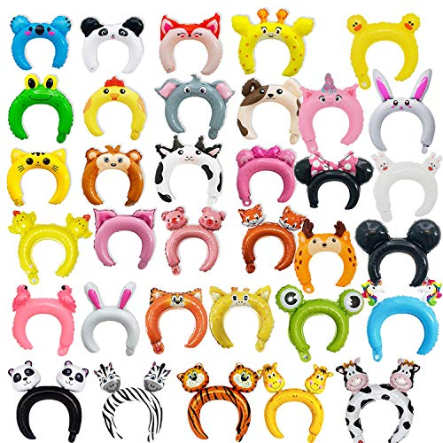 33 Pcs Cute Headband Inflatable Animal Foil Balloon Ribbon Suits for Kids and Adults Party Supplies]()