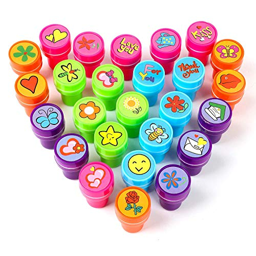 XIAOYAO Stamps for Kids, Party Favors, 26 Pieces Assorted Stamps for Kids Self-Ink Stamps, Easter Party Favor for Kids (Garden)