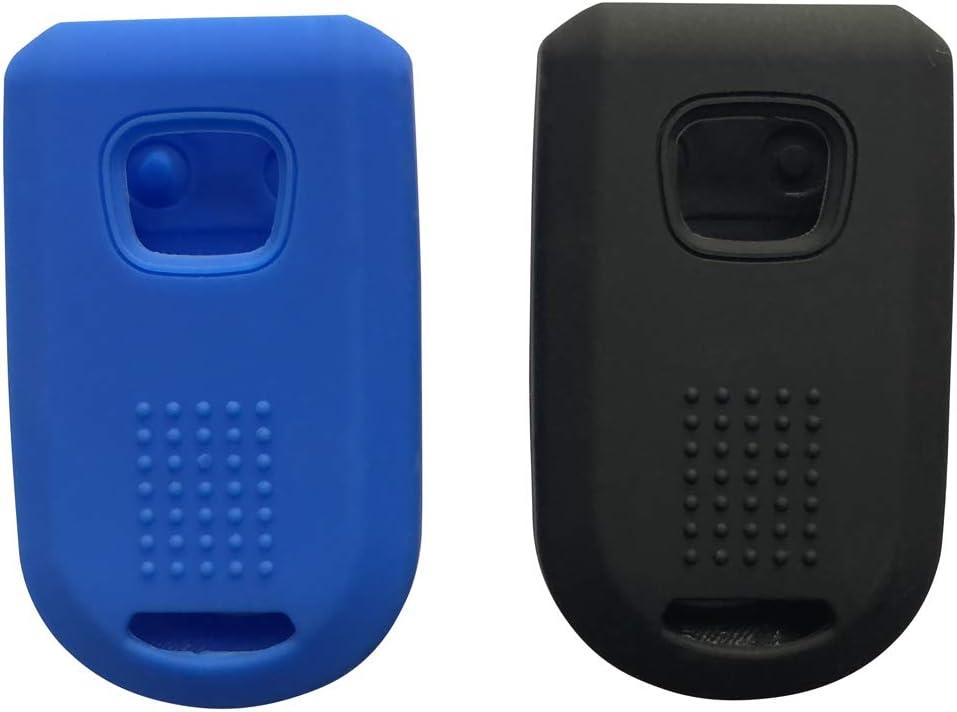 2pcs Fob Remote Key Case Cover Jacket Holder Protector Fit for 2005-2010 Honda Odyssey keyless Black+Blue