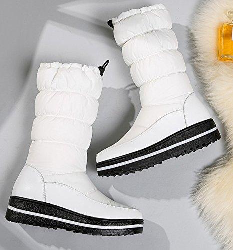 Femme De Epais Bottes Chaussures Blanc Neige Confort Aisun Talon dqAwXXt