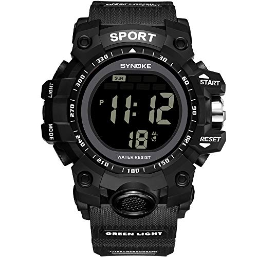 SYNOKE Mens 50M Waterproof Watch,Multi-Function SportBacklight Display LED Digital Watch Double Action Watch with Compass and Date Display Gift for Boys Friend/Father