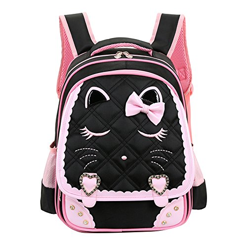 Fanci Cute Cat Face Bowknot Elementary School Backpack Bookbag for Girls Princess Style Primary School Bag (Face Cat Sweet)