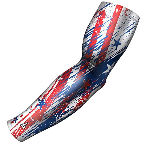Sports Arm Sleeve for men, women, boys, girl, youth - Country themes including; USA, Israel, Puerto Rico, Mexico, Cuba. for Baseball Football other activities. Great Compression sleeve for - Usa The Shooter