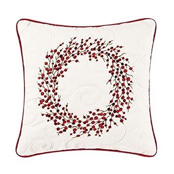 C F Enterprises Berry Wreath Holiday Throw Pillow