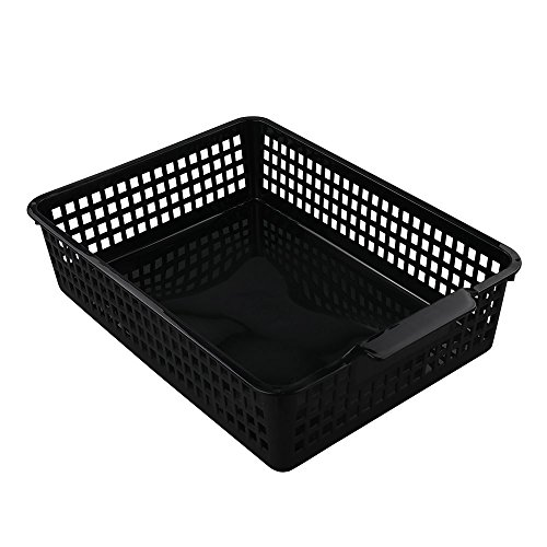 Begale Desktop Storage Basket, for Office Supplies, File, Letter and Document Organizer, (Black Plastic Desktop)