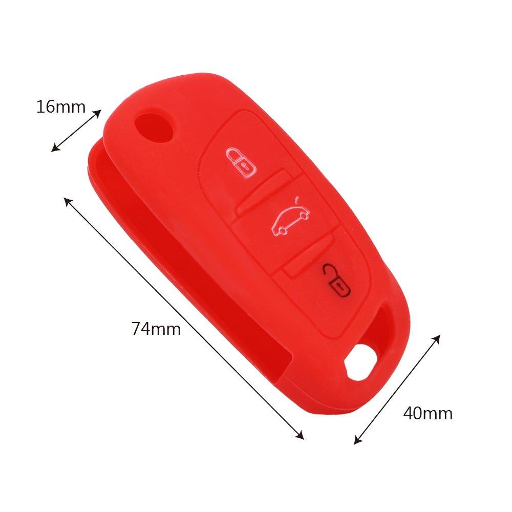 NOPNOG Color Rojo Carcasa de Silicona para Llave de Coche Citroen C4 C5