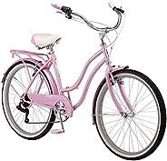 Schwinn Perla Womens Beach Cruiser Bike, 18-Inch Step Through Steel Frame, 7-Speed Drivetrain, Rear Rack, 26-I