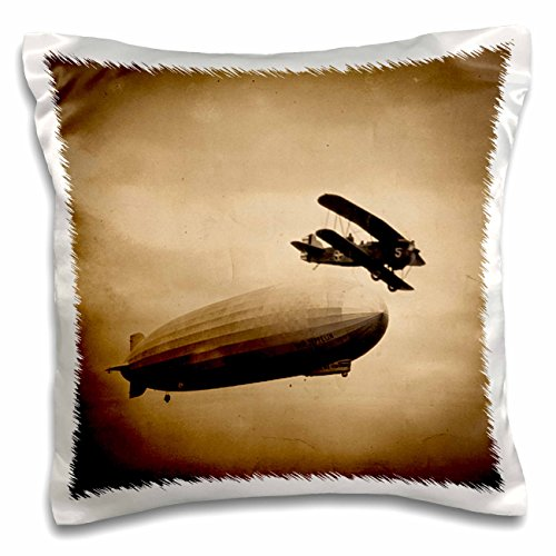 Scenes from the Past Vintage Photographs - The Graf Zeppelin Approaching New York City Photograph Sepia - 16x16 inch Pillow Case (pc_77352_1) Graf Zeppelin Cover