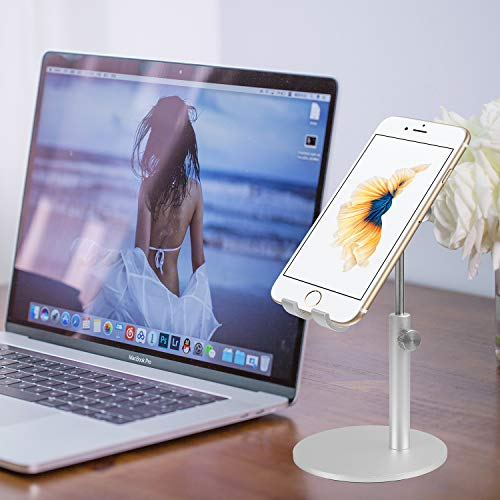smartelf Tablet Stand,Angle & Height Adjustable Aluminium Phone Stand Dock Mount Desktop Cellphone Holder for Desk,Compatible with 4-12.9 inch iPad iPhone Samsung Nintendo Switch Kindle-Silver