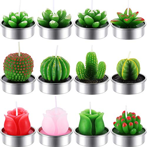 TecUnite 12 Pieces Cactus Rose Tealight Candles Handmade Delicate Succulent Cactus Rose Candles for Party Wedding Spa Home Decoration Gifts (Style ()