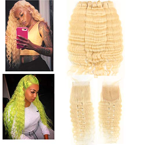 Wave 613 - Queen Plus Hair Curly Deep Wave 613 Blonde Virgin Hair 3 Bundles With Lace Closure Brazilian Curly Deep Honey Blonde Human Hair Bundles (16 16 18 with 14, deep 613 hair)